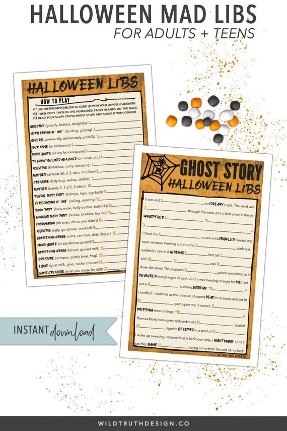 photo about Printable Mad Libs for Teens identify Halloween Ridiculous Libs - Teenager Halloween Video game - Ghost Tale Halloween Get together Recreation - Grownup Halloween Recreation - Halloween Printable - Previous Second #H108