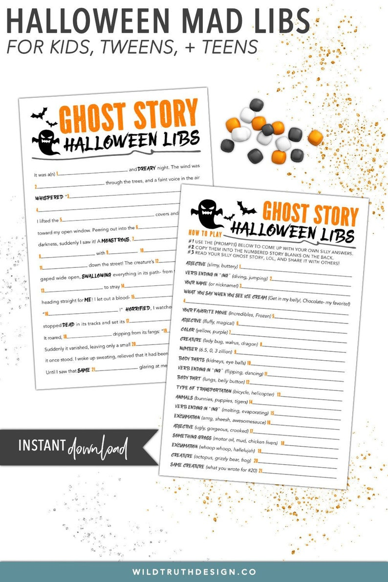 photo about Free Printable Mad Libs for Middle School Students known as Enjoyment Youngsters Halloween Activity - Halloween Nuts Libs Centre Faculty - Ghost Tale - Halloween Printables - Final Instant Halloween Get together Match #H106