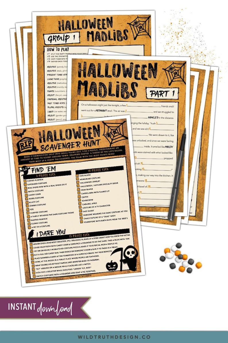 Halloween Party Games - Adult Halloween Games - Scavenger Hunt Teens -  Halloween Game Pack - Halloween Mad Libs - Halloween Printable #H101