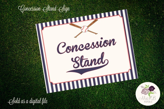 photo about Concession Stand Signs Printable called PRINTABLE Baseball Themed Signs or symptoms - Concession Stand Indication