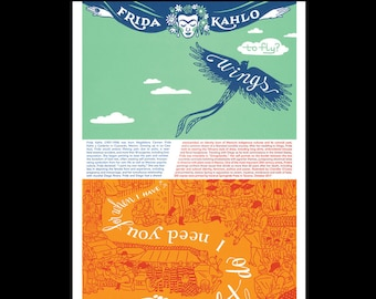 ESTADOS DIVIDIDOS oversized postcard featuring hand-lettered typography and quote by Mexican artist Frida Kahlo