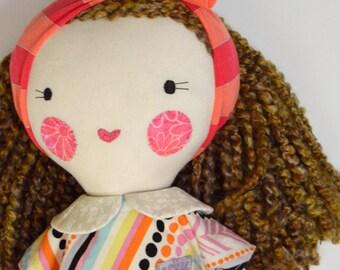 large rag doll: Francie, rosey rag doll, free personalization