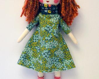 modern rag doll: Emmaline, red hair, rosey rag doll, free personalization