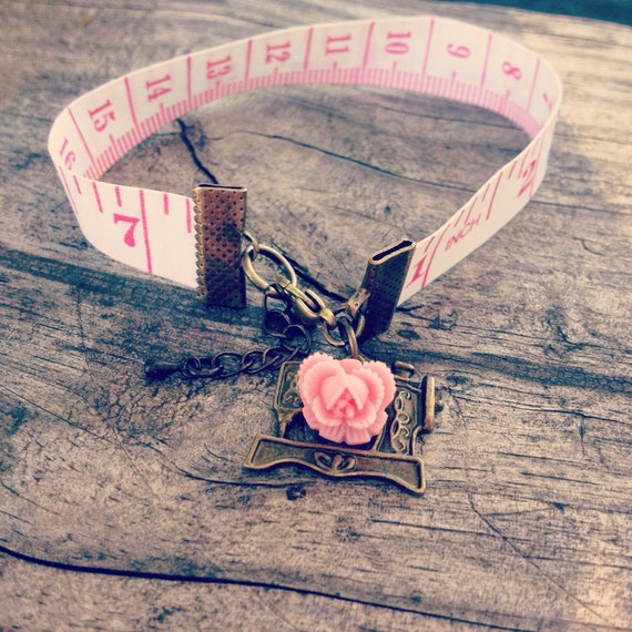 Sewing tape bracelet sewing machine charm bronze red rose