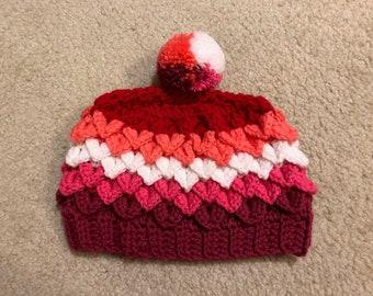 Lesbian/Sapphic/WLW Pride Hat in Dragon Scale Stitch