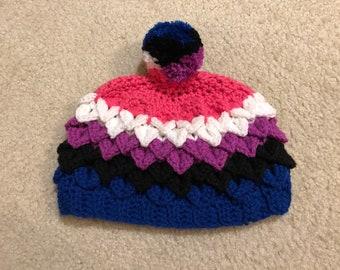 Genderfluid Pride Hat in Dragon Scale Stitch