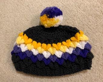 Non-Binary Pride Hat in Dragon Scale Stitch