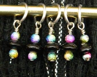 LAST SET! 5 Rainbow and Black Beaded Stitch Markers - snag free handmade knitting stitch markers