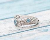Spring flowers ring Sterling silver ring Gemstone ring