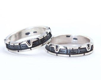StarGate ring | Half lendht pattern StarGate ring | Silver StarGate ring