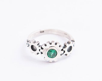 Gear silver ring | Steampunk silver ring | Cog silver ring