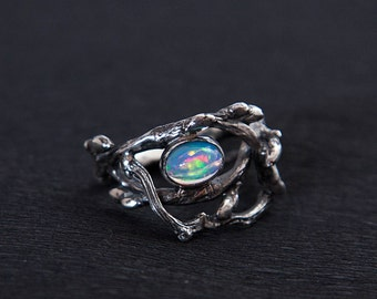 Heart of the Forest - Sterling Silver Twig Ring with Ethiopian Opal - Branch Ring - Twig Ring