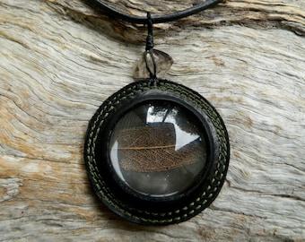 Magnified Leaf Skeleton and Morella Smoky Quartz Pendant Eco Friendly Nature Jewelry by Ariom Designs
