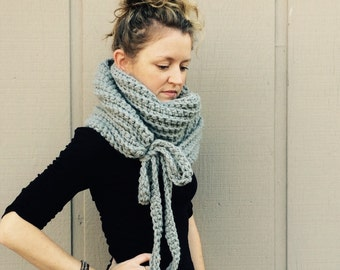 DIY Crochet Pattern:  Super Bulky Yarn, easy crochet P D F, chunky yarn, scarf, cowl, with ties, InStanT DowNLoaD, The Kristin Scarf