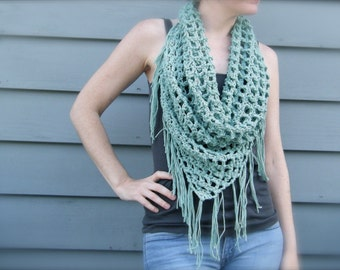 DIY Crochet Pattern:  summer scarf, triangle scarf, bandana scarf, fringe, light weight open weave, easy crochet, InStAnT DoWnLoAd