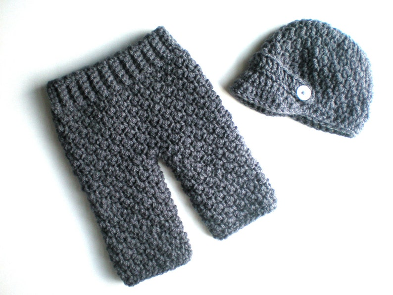 PATTERN:  Baby Boy Longies and Newsie Hat Set 2 sizes Easy image 0