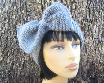 DIY Crochet Pattern: Knit-Look Glam Band, easy crochet P D F, giant bow head band, stretchy ear warmer, InStanT DowNLoaD, PERMISSION to SELL