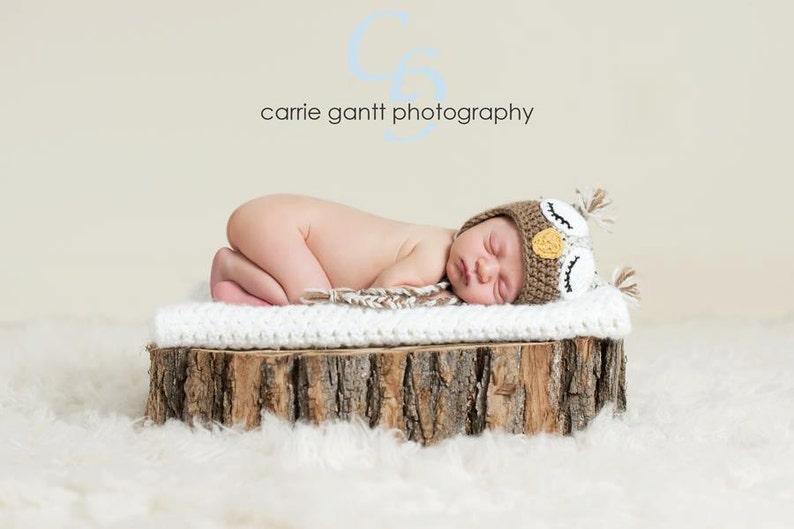 PATTERN:  Owl Hat size newborn to adult baby kid animal hat image 0