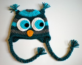 PATTERN:  Striped Owl hat, size newborn to adult, Easy Crochet PDF, baby kid animal hoot hat, InStAnT DoWnLoAd, Permission to Sell