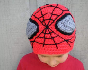 PATTERN:  Spidey Hat-  Easy crochet pattern, all sizes Newborn to Adult,  unisex beanie,  P D F, InStAnT DoWnLoAd, Permission to Sell