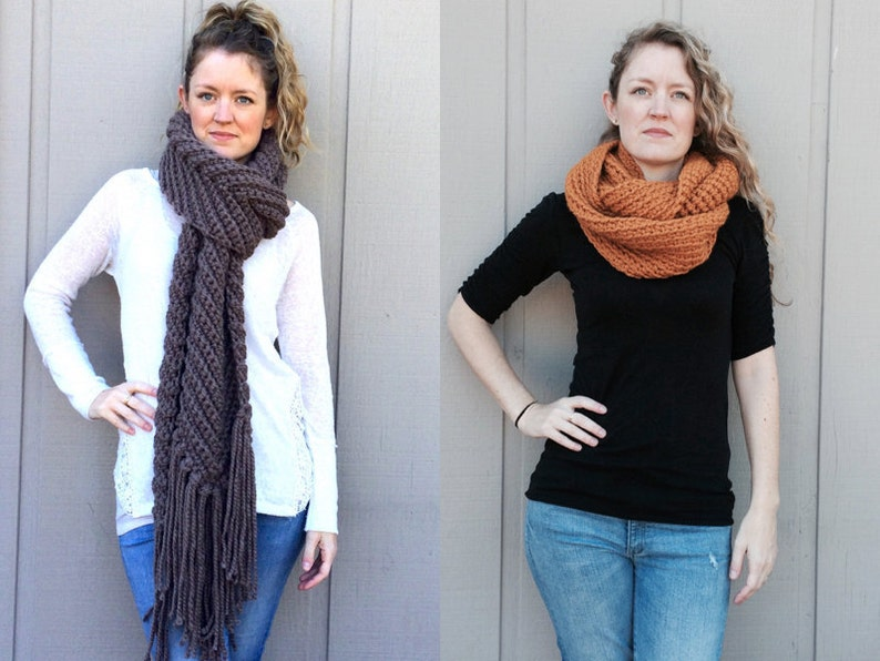 2 Crochet Patterns: Infinity Scarf cowl super bulky chunky image 0
