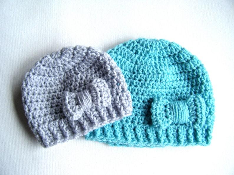 PATTERN:  Bowtique Hat Easy Crochet PDF Size NB Adult bow image 0