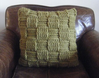 DIY Crochet Pattern:  Basketweave pillow, checkered woven texture, super bulky yarn, chunky yarn, Easy Crochet P D F, INSTANT DOWNLOAD