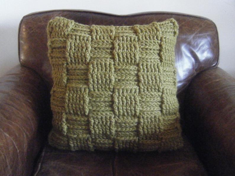 DIY Crochet Pattern:  Basketweave pillow checkered woven image 0