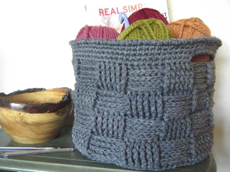 DIY Crochet Pattern:  basket basketweave woven bin with image 0