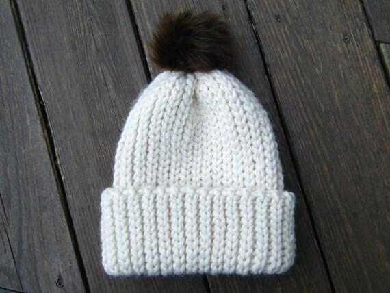 DIY Crochet Pattern  Fishtail Hat adult Chunky knit look pom  55a846e6d59