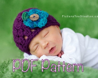 PATTERN:  Button Blossom Hat- flower, button, size Newborn, Easy Crochet PDF, beanie, InstAnT DowNLoaD, Permission to Sell