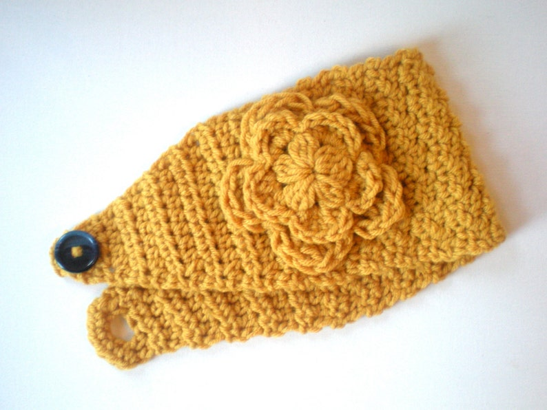 PATTERN: Flower Band easy crochet P D F email fall autumn image 0