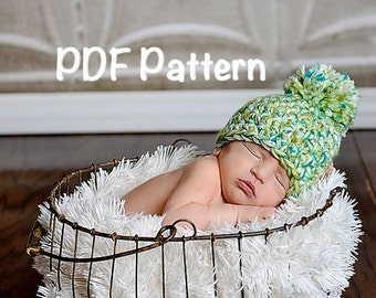 PATTERN:  Apple Orchard Hat- Crochet PDF pattern, size NB-Toddler, easy crochet, pompom, chunky beanie, InStAnT DoWnLoAd, Permission to Sell