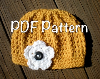 PATTERN:  Ashley Hat, Easy Crochet PDF, Flower Ribbed Beanie, sizes Newborn to Adult, InStaNT DowNLoaD, Permission to Sell