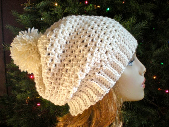 PATTERN  Snow Bunny Hat easy crochet slouch beanie adult  33af7032926c