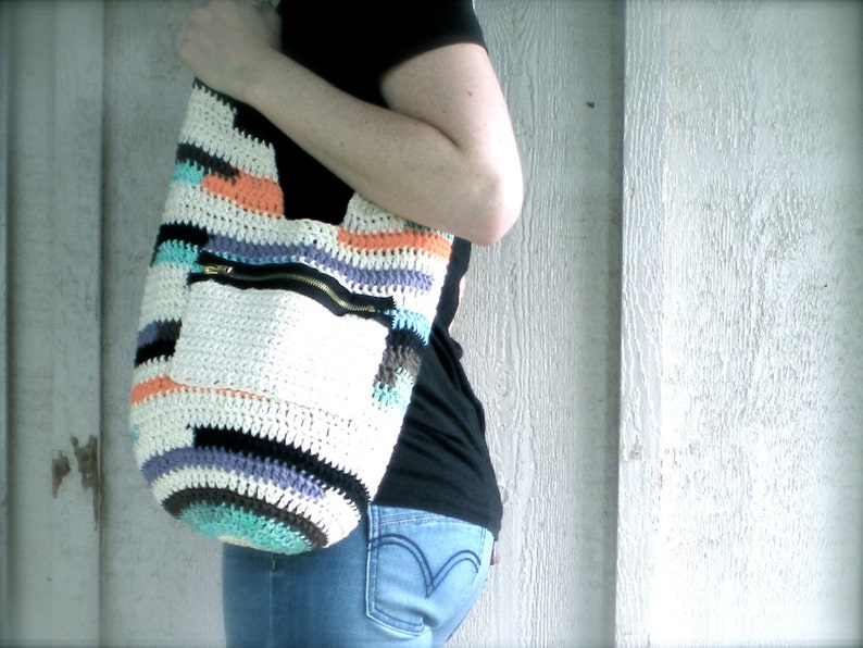 PATTERN:  Mag Bag purse pocketbook tote exposed zipper image 0