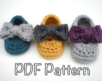PATTERN: Sadie Slippers- Easy Crochet P D F, baby girl shoes with detachable bows, 3 SIZES, InStAnT DoWnLoAd, Permission to Sell