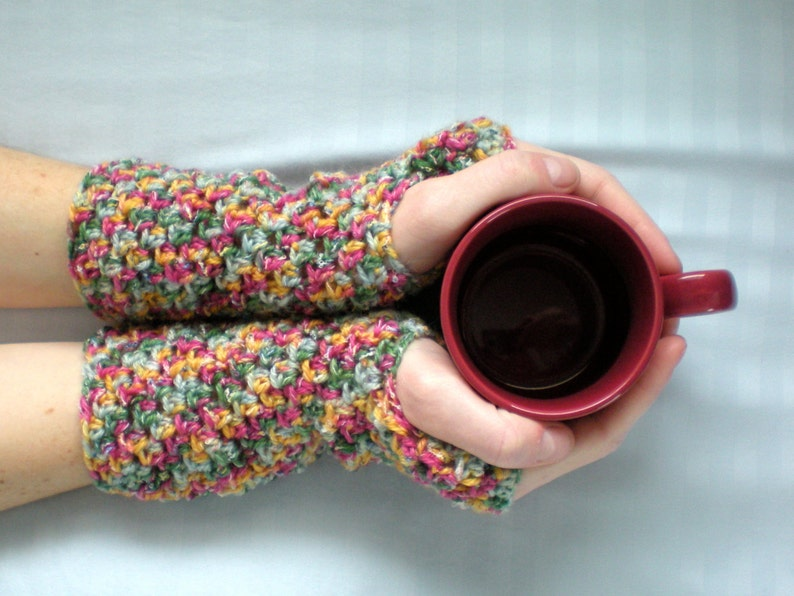 PATTERN: Cotton Candy fingerless gloveswrist warmers image 0