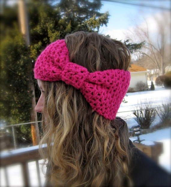 2 Patterns Bow Ear Warmer Bobble Band Head Band Giant Etsy