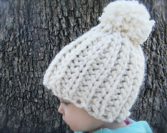 DIY Crochet Pattern: Snow Cap Hat, 4 sizes, Chunky knit look pom pom hat, InstAnT DowNLoaD, Permission to Sell