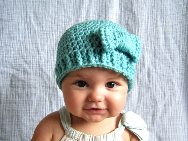 PATTERN:  Bowtique Hat Easy Crochet PDF Size NB Adult bow image 0
