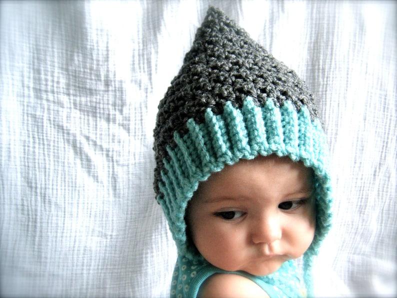PATTERN:  Seedling Pixie Bonnet baby hat 3 Sizes easy image 0