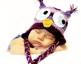 PATTERN:  Striped Owl hat, size nb to adult, baby kid animal hat, easy crochet, InStAnT DoWnLoAd, Permission to Sell