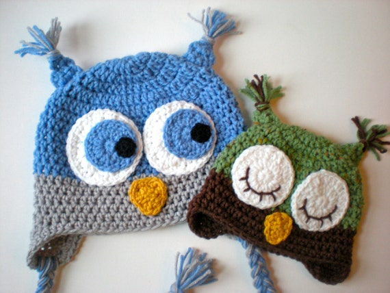 Pattern Owl Hat Size Newborn To Adult Baby Kid Animal Hat Etsy