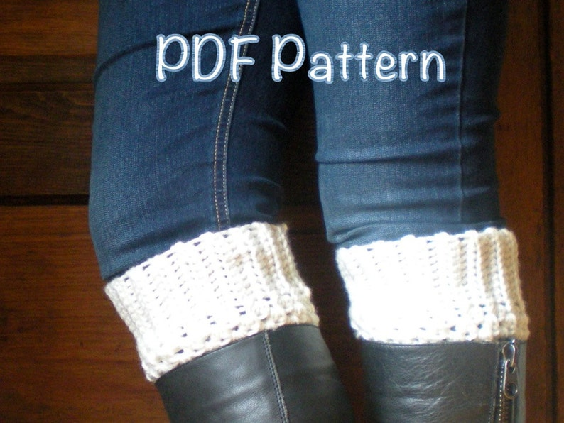 PATTERN: Boot Cuffs easy crochet P D F email cream beige image 0