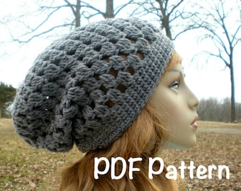 PATTERN:  Decatur Street Hat, easy crochet, slouch hat, beanie, adult, teen, pdf, spring fall, InStAnT DoWnLoad, Permission to Sell