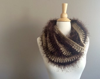 DIY Crochet Pattern:  faux fur cowl, scarf crochet pattern, infinity scarf, striped, easy crochet, InStAnT DoWnLoAd
