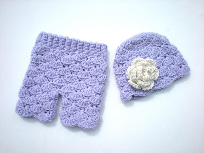 PATTERN:  Shorties Set baby girl flower hat & pants Easy image 0
