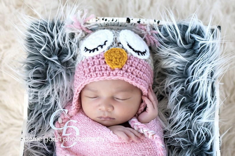 PATTERN: Owl hat size newborn to adult easy crochet PDF image 0