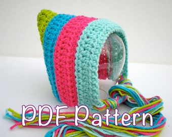 PATTERN:  Striped Pixie Bonnet, newborn baby hat, easy crochet PDF, InStAnT DoWnLoAd, Permission to Sell